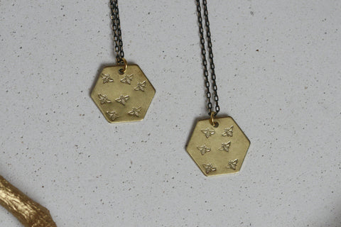 Delicate Brass Hexagon and Bee Necklace - Kaiko Studio