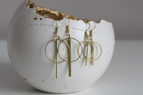 Geometric Brass Earrings - Kaiko Studio