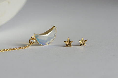 Delicate Moonstone Moon Necklace and Star Earrings  | Crystal Jewellery SET - Kaiko Studio