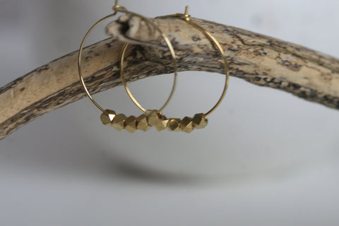 Geometric Brass Hoop Earrings - Kaiko Studio