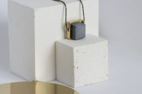 Concrete and Brass Necklace - Kaiko Studio