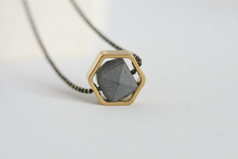 Minimalist Concrete and Brass Necklace - Kaiko Studio