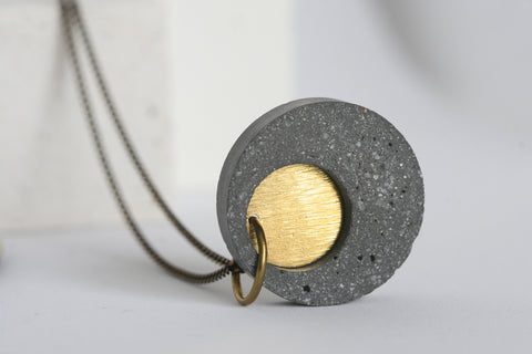 Minimalist Concrete and Brass Necklace