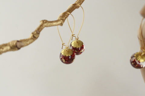 Rose Petal & Goldleaf Sphere Earrings - Kaiko Studio