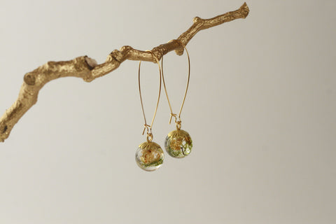 Moss & Goldleaf Sphere Earrings - Kaiko Studio