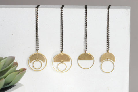 "Geometric Brass ""Moon"" Necklaces - Kaiko Studio"