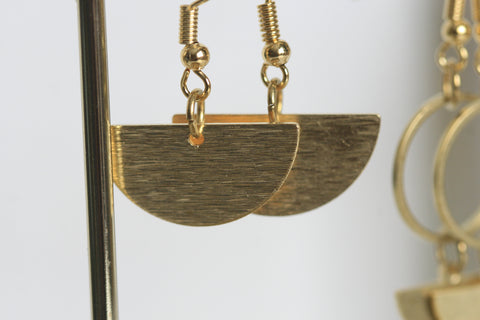 Geometric Brass Moon Earrings - Kaiko Studio