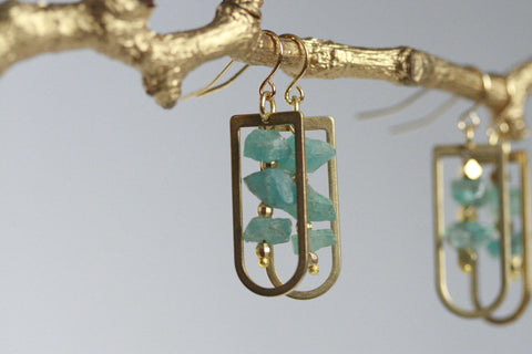 Crystal and Brass Earrings | Natural Apatite Crystal - Kaiko Studio