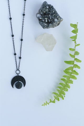 Black Moon and Lava Necklaces | Aromatherapy Jewellery - Kaiko Studio