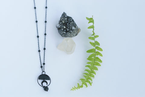 Black Moon and Lava Necklace | Aromatherapy Jewellery - Kaiko Studio