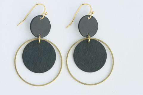 Black Statement Earrings | Brass