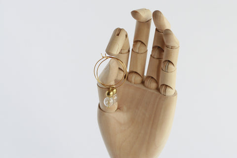 Glass and Brass Earrings - Kaiko Studio