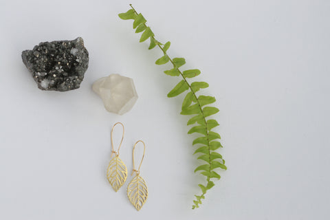 Delicate Brass Leaf Earrings - Kaiko Studio