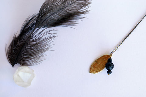 Feather Aromatherapy Necklace | Essential Oil Diffuser Necklace - Kaiko Studio