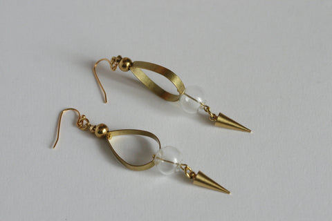 Glass and Brass Statement Earrings - Kaiko Studio