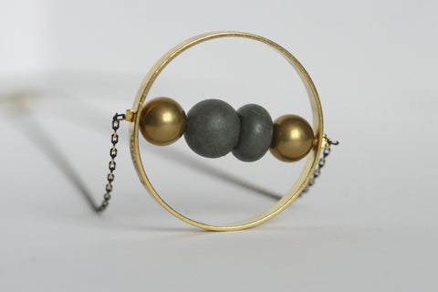 Concrete and Brass Circle Necklace - Kaiko Studio