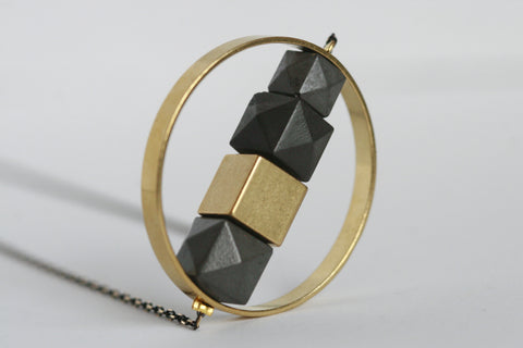 Concrete and Brass Circle Necklace