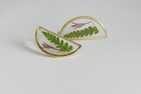 Wicklow Fern Studs | Botanical Jewellery - Kaiko Studio