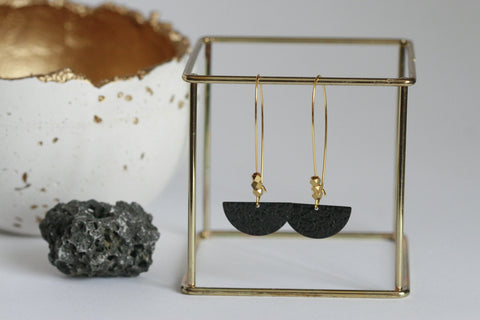 Black Brass Moon Earrings - Kaiko Studio