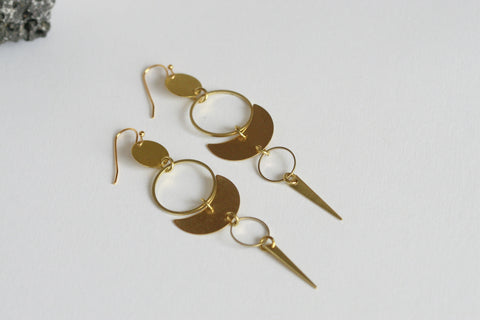 Lunar Statement Earrings | Brass - Kaiko Studio