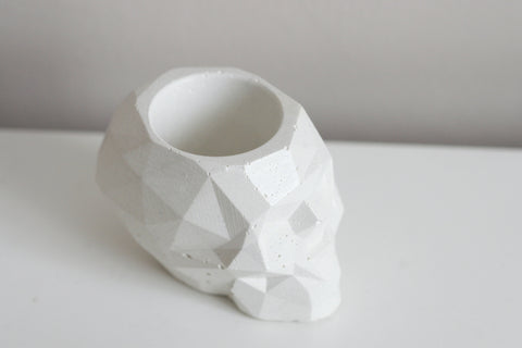 Faceted Concrete Skull Planter/Candleholder