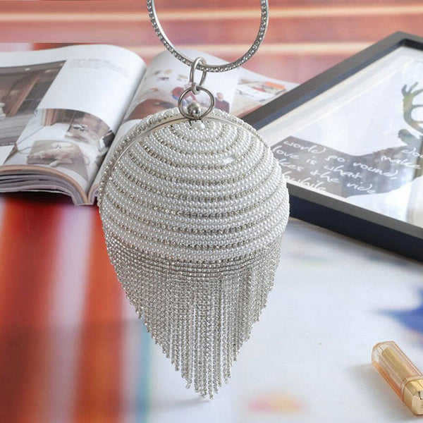 Diamond hanging thread pearls