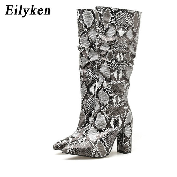 Eilyken Colorful Snake Skin Boots Women High Heels Thick Mid-calf Boot Distressed Pointed Toe Zip Shoe Pleated Boots Slouch