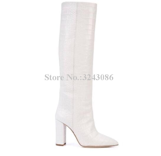 White Knee-High Snakeskin Leather Boot
