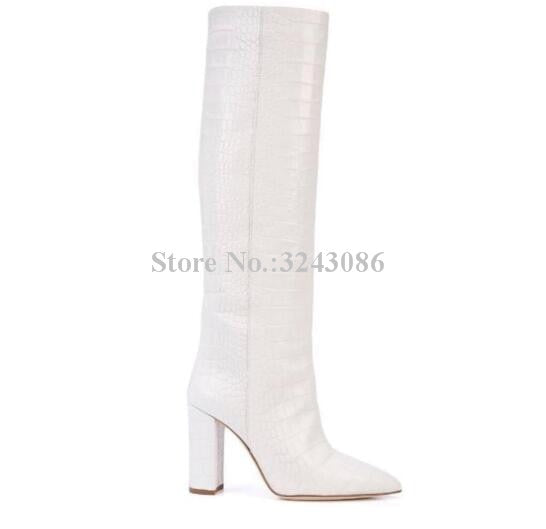New White Snakeskin Leather Long Boots Women Fashion Pointed Toe Chunky Heel Knee Boots Large Size Dropship Dress Shoes