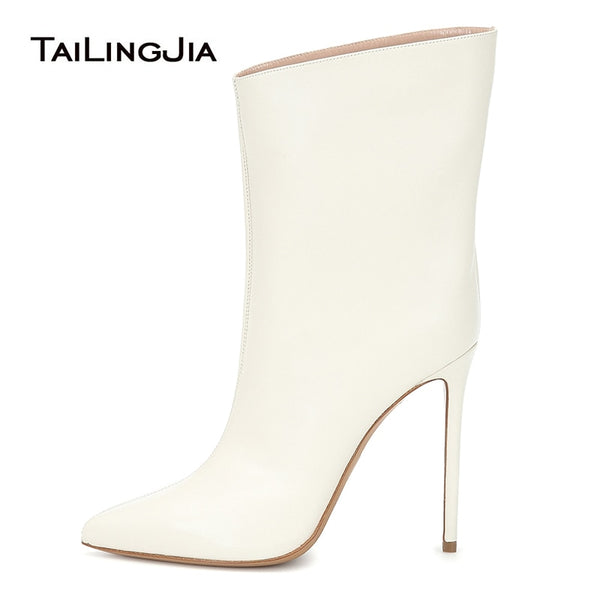 Ankle Boots For Women Shoes Woman 2019 Short Fall Booties Pointy Toe White High Heel Fashion Ladies Boot Slip On Autumn Footwear
