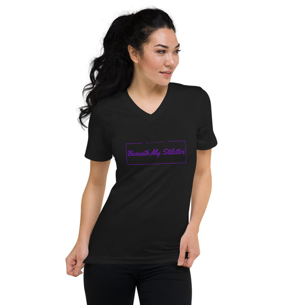 Unisex Short Sleeve V-Neck T-Shirt Purple