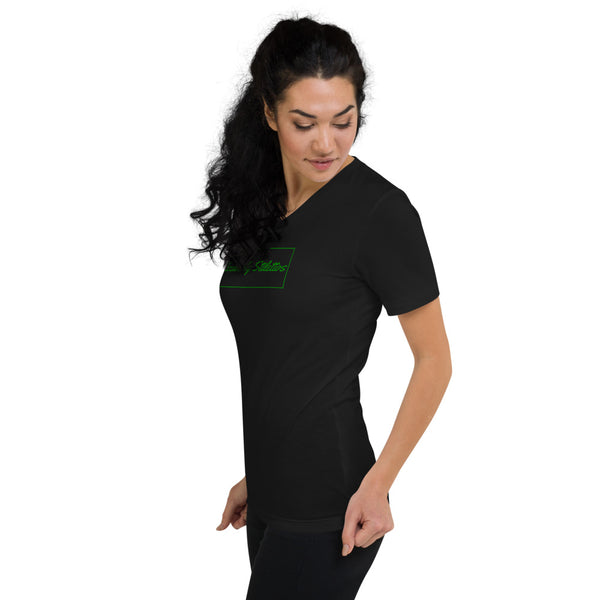 Unisex Short Sleeve V-Neck T-Shirt Green