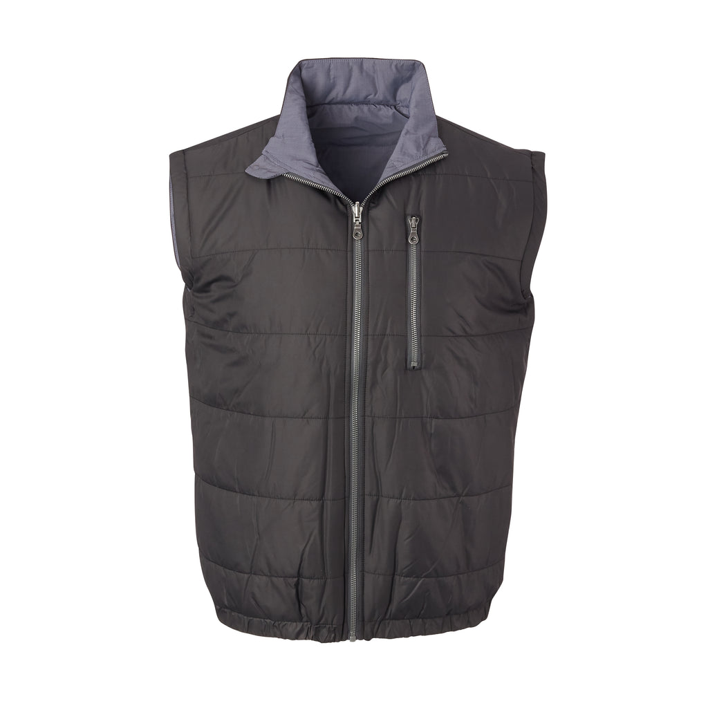 THE YELLOWSTONE QUILTED REVERSIBLE VEST - Black/Herringbone 74905V