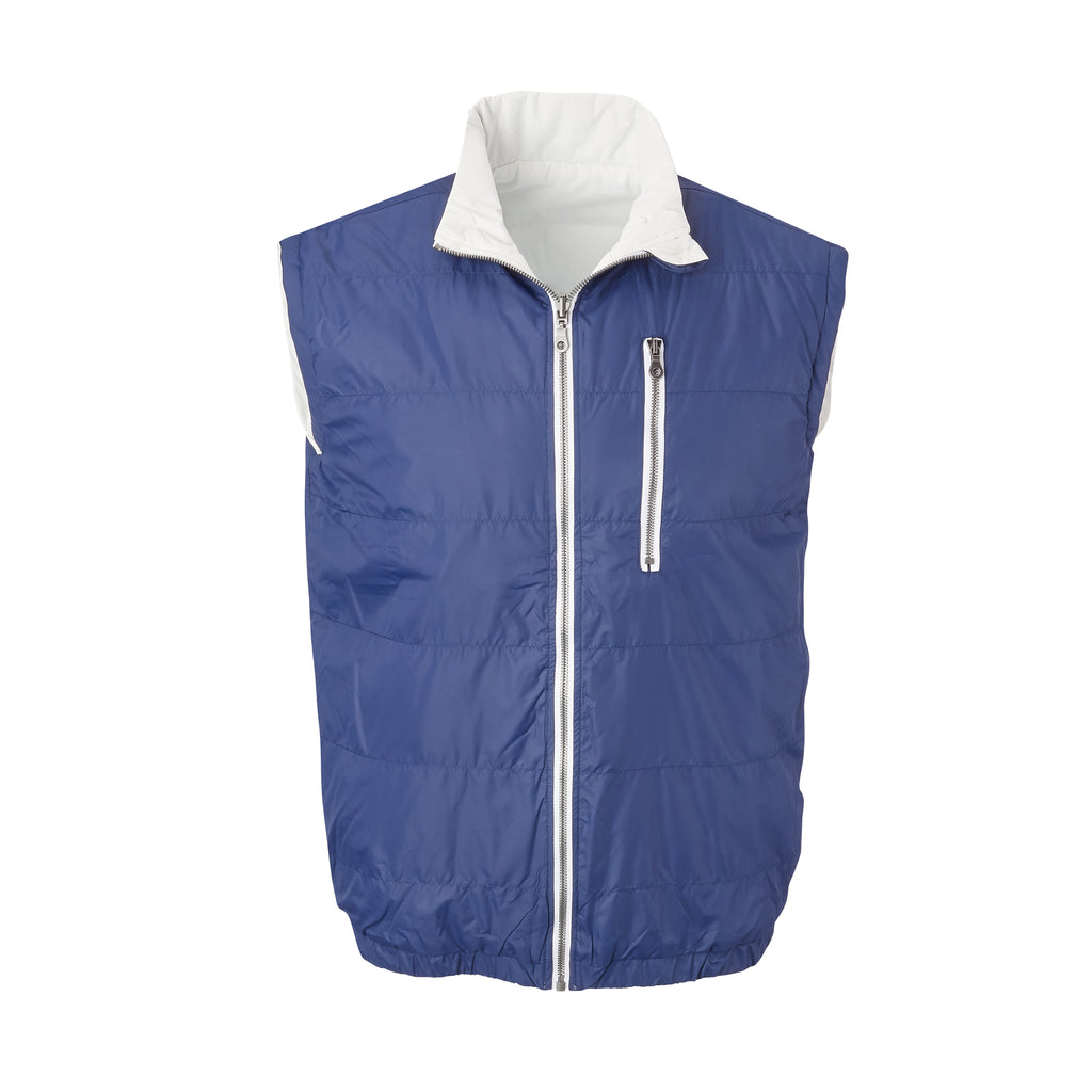 THE YELLOWSTONE QUILTED REVERSIBLE VEST - Navy / White 74905V