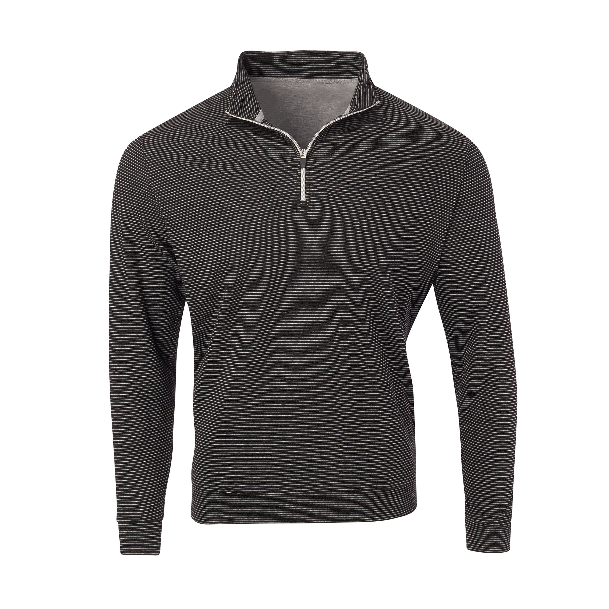 THE ASPEN LUXURY INTERLOCK HALF ZIP PULLOVER - Black/Silver 77304HZ