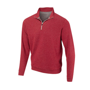 THE ASPEN LUXURY INTERLOCK HALF ZIP PULLOVER - Crimson/Silver 77304HZ