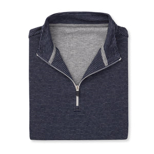THE ASPEN LUXURY INTERLOCK HALF ZIP PULLOVER - Navy/Silver 77304HZ
