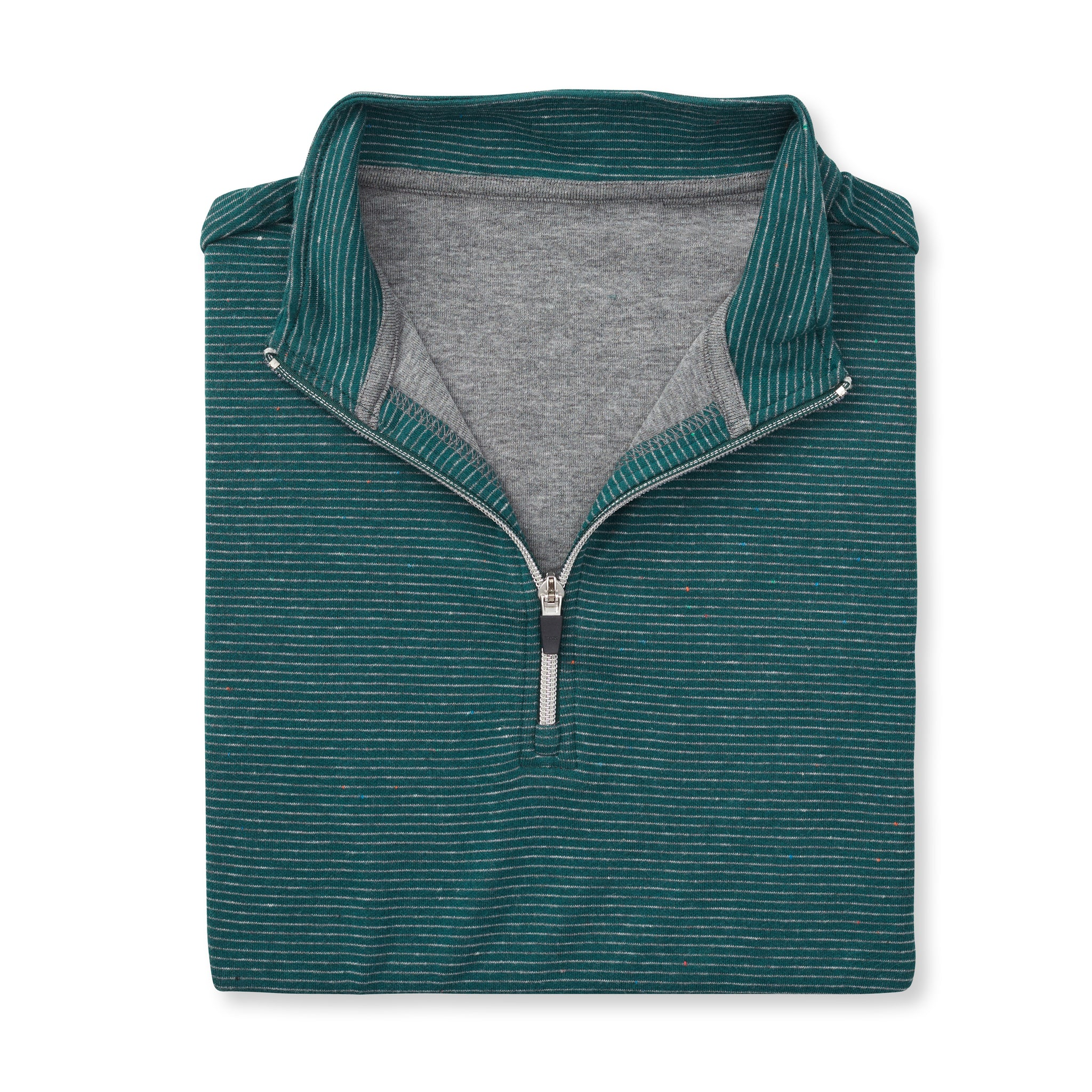 Luxury SUPIMA Interlock Half Zip Pullover - Pine/Silver 77304HZ