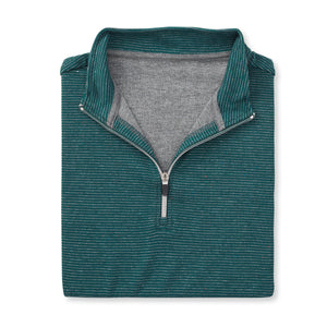 THE ASPEN LUXURY INTERLOCK HALF ZIP PULLOVER - Pine/Silver 77304HZ