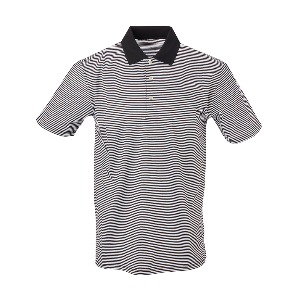 THE COMMANDER MERCERIZED STRIPE POLO - Black/White IS22210A