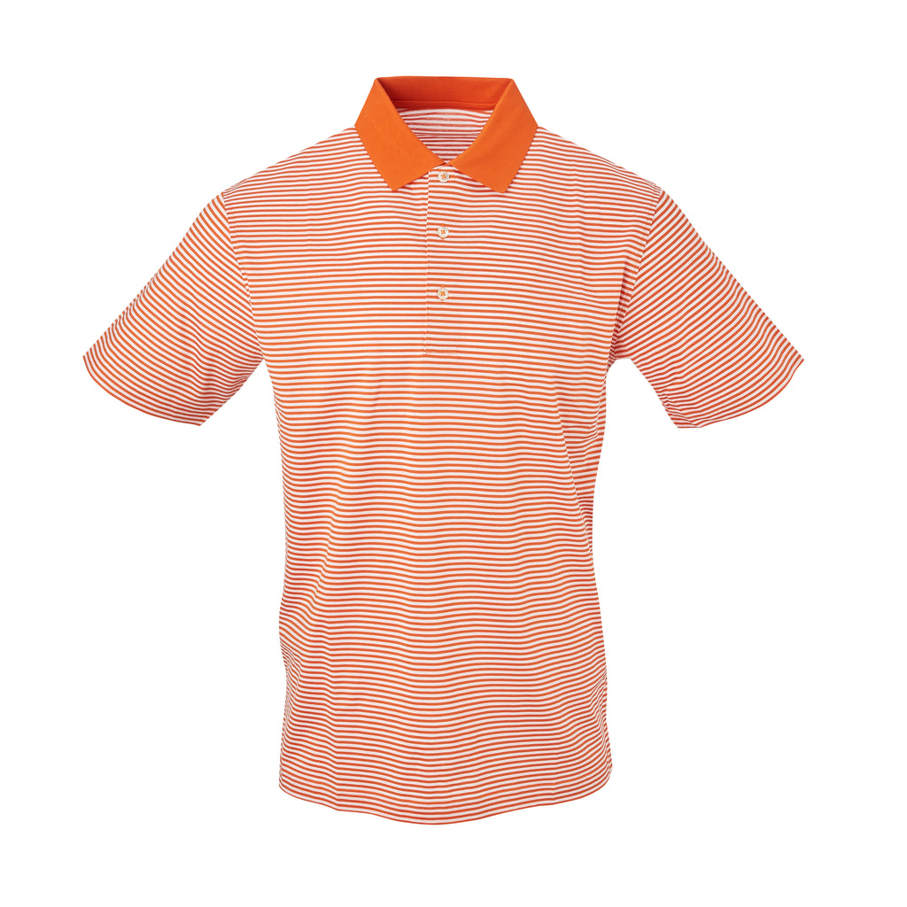 THE COMMANDER MERCERIZED STRIPE POLO - Burnt Orange/White IS22210A