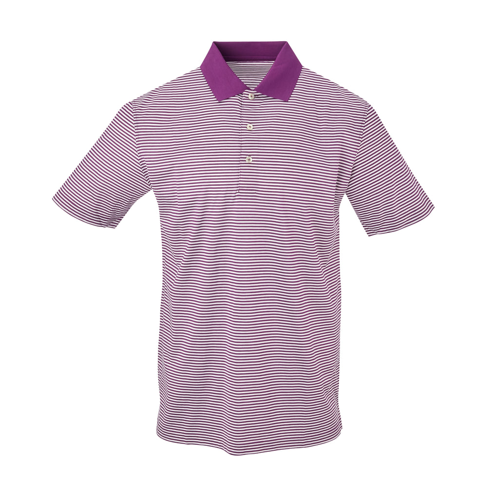 THE COMMANDER MERCERIZED STRIPE POLO - Berry/White IS22210A