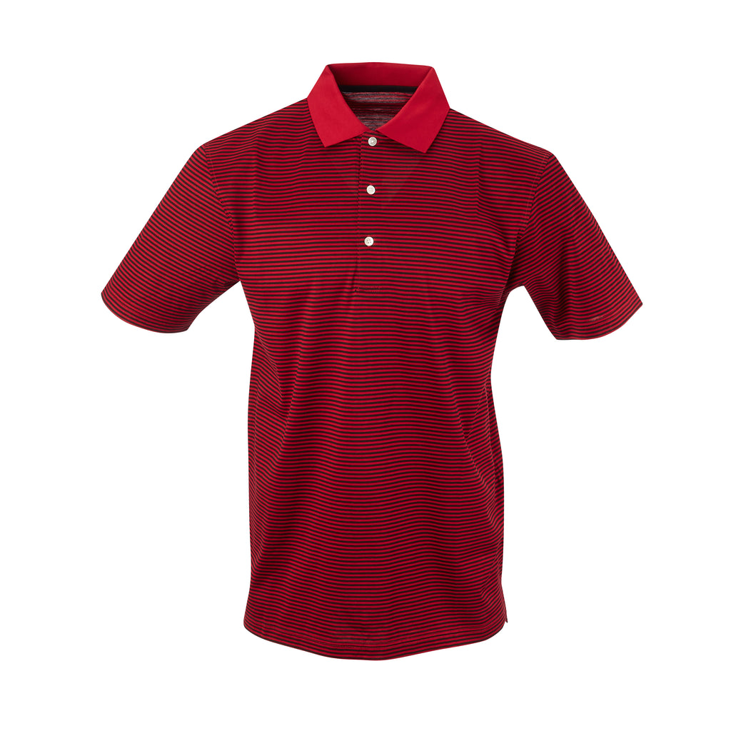THE COMMANDER MERCERIZED STRIPE POLO - Crimson/Black IS22210A