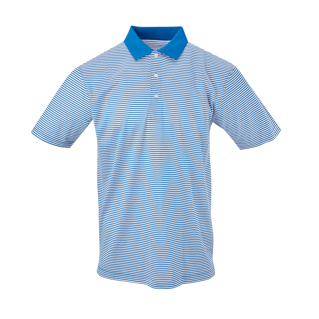 THE COMMANDER MERCERIZED STRIPE POLO - Nautical/White IS22210A