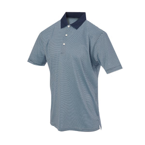 THE COMMANDER MERCERIZED STRIPE POLO - Navy/Maui IS22210A
