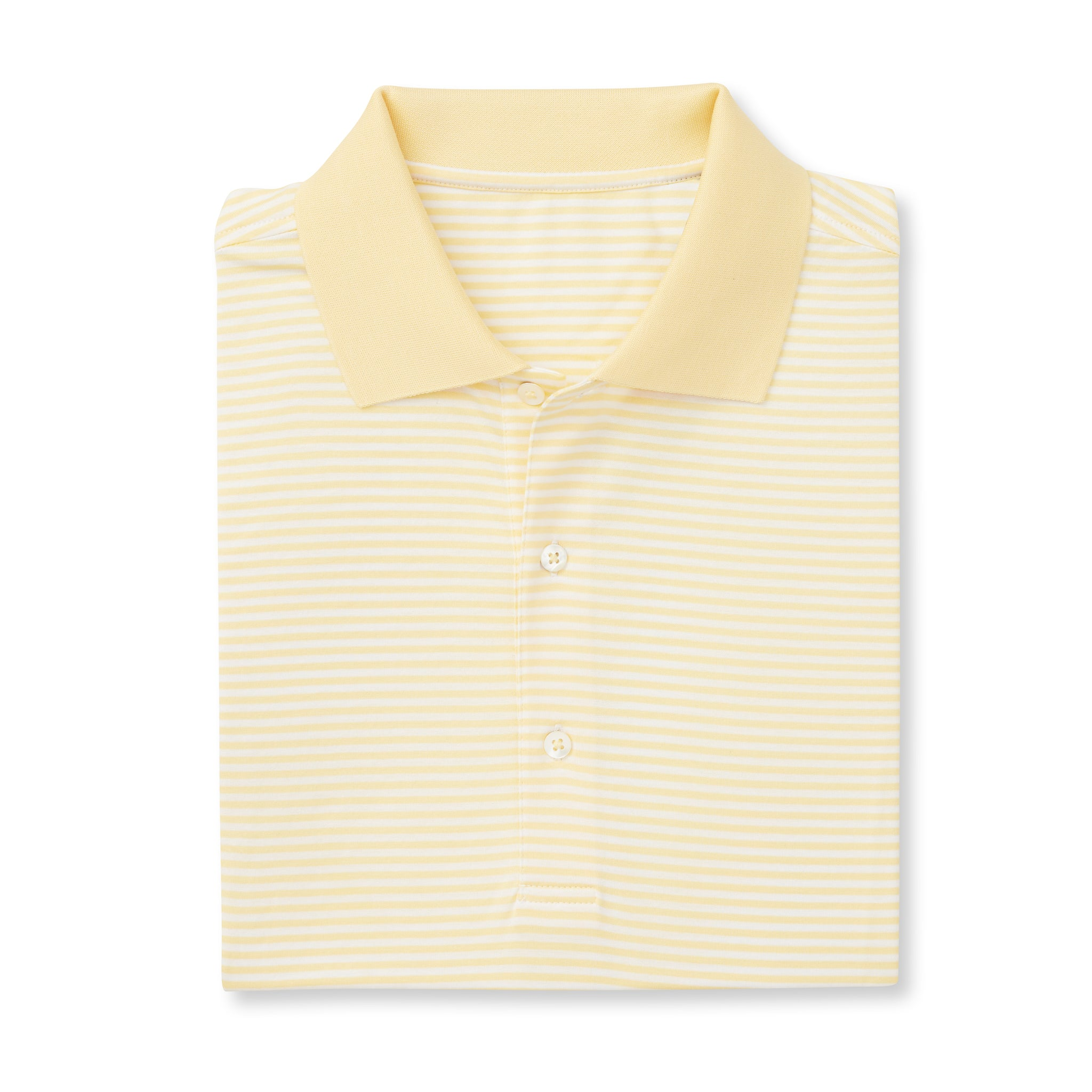 SUPIMA Stripe Short Sleeve Mercerized Polo - Yellow/White IS22210A