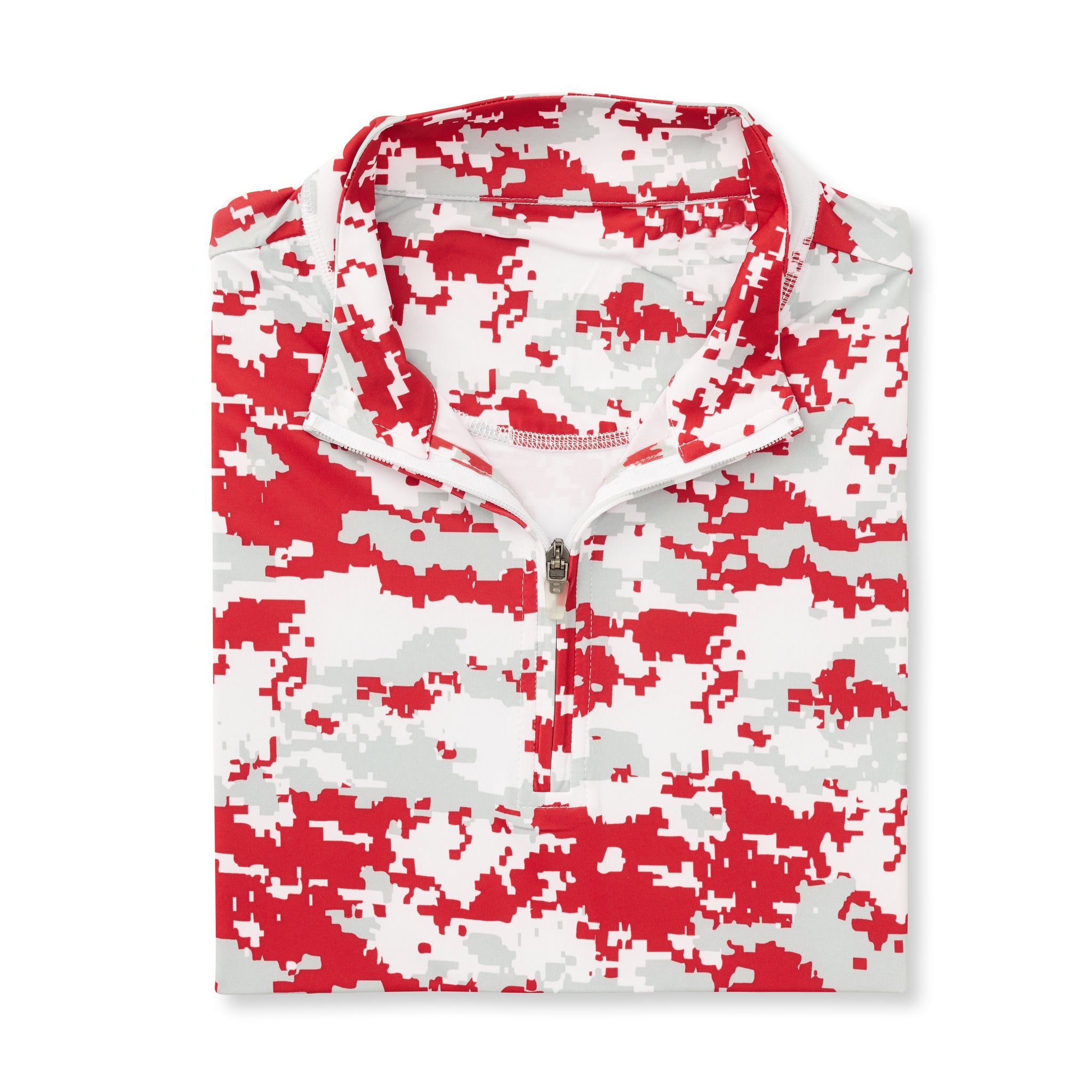 Digital Camo Half Zip - Crimson IS46005