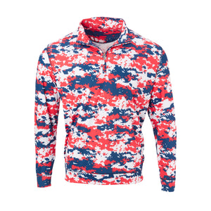 THE PULIDO DIGITAL CAMO HALF ZIP PULLOVER - Red/White/Blue IS46005