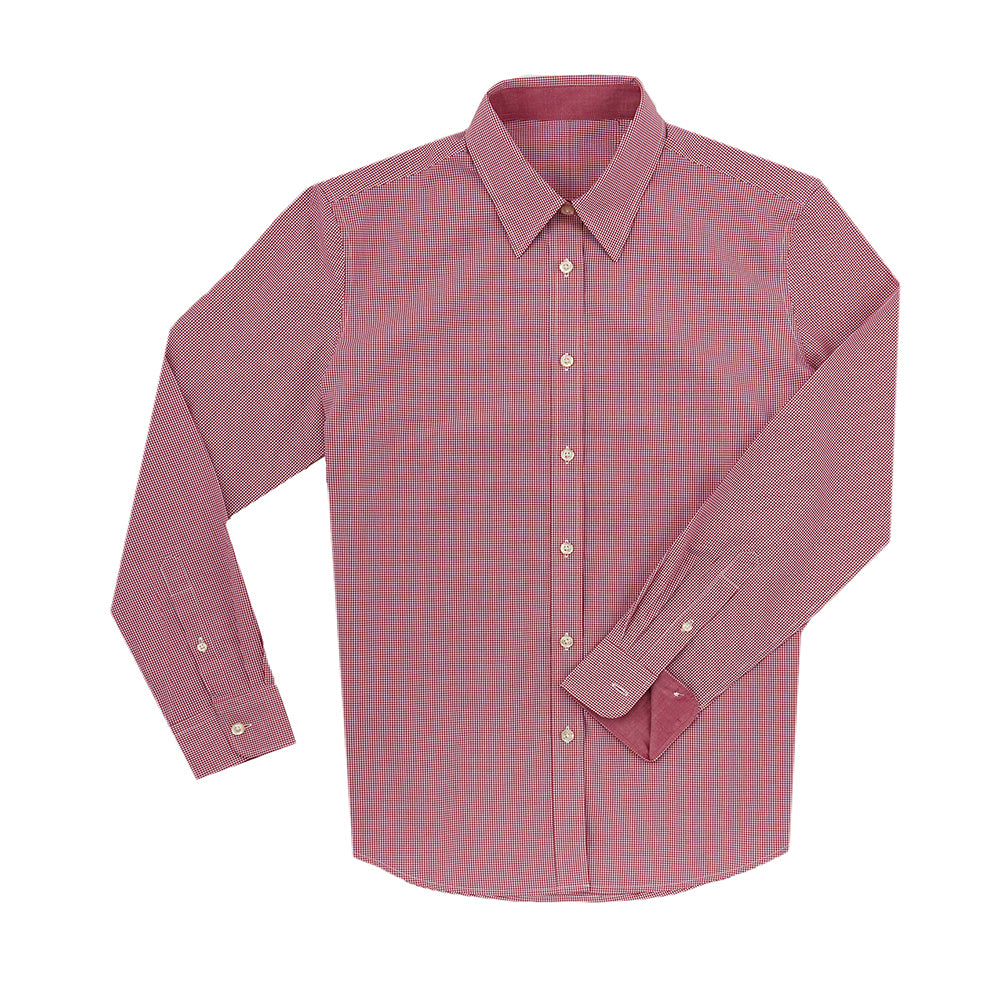Women's Boss SWISS COTTON POPLIN Mini Check Shirt -Crimson IS62311W