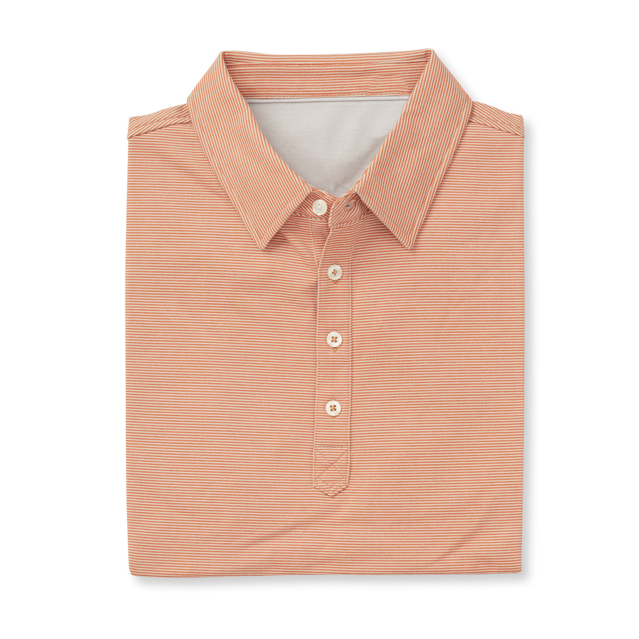 LUXTEC Champions Short Sleeve Stripe Polo - Burnt Orange/Cloud IS72410